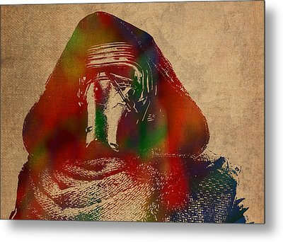 Kylo Ren Watercolor Portrait On Old Canvas Metal Print by Design Turnpike