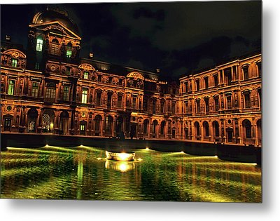 La Cour Carree And The Building Of The Louvre Illuminated At Night Metal Print by Sami Sarkis