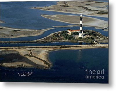 La Gacholle Lighthouse Surrounded With Blue Sea In Camargue Metal Print by Sami Sarkis