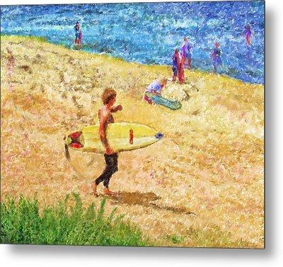 La Jolla Surfers Metal Print by Marilyn Sholin