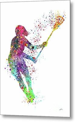 Lacrosse Girl Player Sports Art Print Watercolor Print Girl's Lacrosse Illustration Lacrosse Art Pos Metal Print