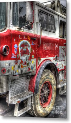 Ladder Truck 152 - In Remembrance Of 9-11 Metal Print by Eddie Yerkish