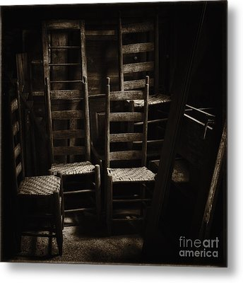 Ladderback Chairs Metal Print by Stanton Tubb