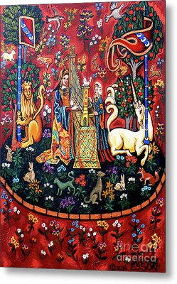 Metal Print featuring the painting Lady And The Unicorn Sound by Genevieve Esson