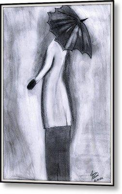 Lady In Rain Metal Print by Gaurav Patwari