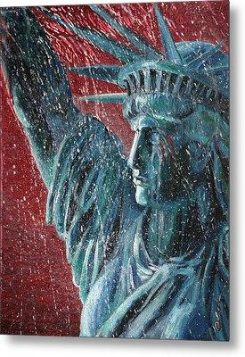 Lady Liberty In The Rain Metal Print by Alan Schwartz