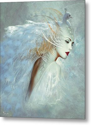 Lady Of The White Feathers Metal Print