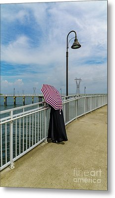 Lady On Pier - Color Version Metal Print