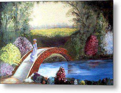 Lady On The Bridge Metal Print by Julie Lamons