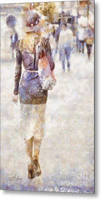 Lady Walking Metal Print by Shirley Stalter