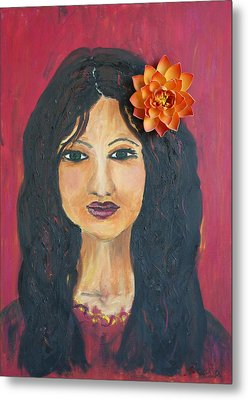 Metal Print featuring the painting Lady With Flower by Sladjana Lazarevic