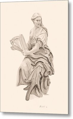 Lady With Harp Metal Print