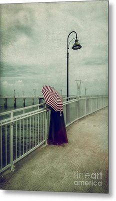 Lady With The Umbrella _texture Metal Print
