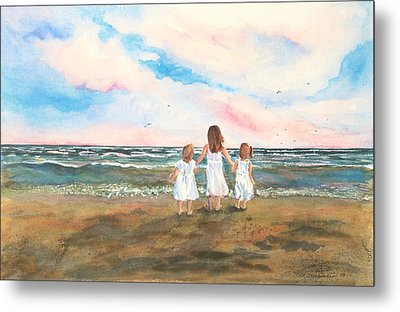 Metal Print featuring the painting Lake Angels by Sandra Strohschein