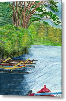 Metal Print featuring the painting Lake Bratan Boats Bali Indonesia by Melly Terpening