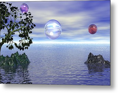 Lake Bubble Planet Metal Print by Kim Prowse