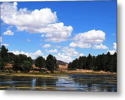 Lake Cuyamac Landscape And Clouds Metal Print