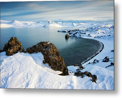 Lake Kleifarvatn Iceland In Winter Metal Print by Matthias Hauser
