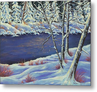 Metal Print featuring the painting Lake Lucerne Wisconsin by Susan DeLain