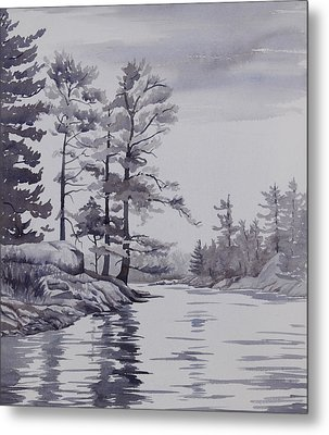 Lake Reflections Monochrome Metal Print by Debbie Homewood