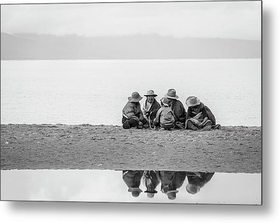 Metal Print featuring the photograph Lakeshore Discussion, Namtso, 2007 by Hitendra SINKAR