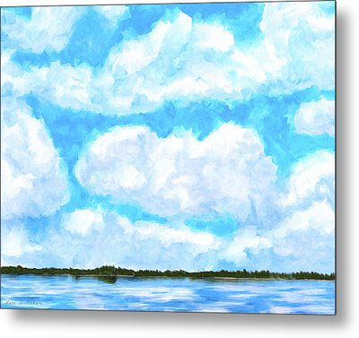 Metal Print featuring the mixed media Lakeside Blue - Georgia Abstract Landscape by Mark Tisdale