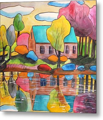 Metal Print featuring the painting Lakeside Dream House by John Williams