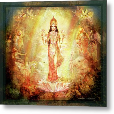 Lakshmi With Angels And Muses 1 Metal Print by Ananda Vdovic