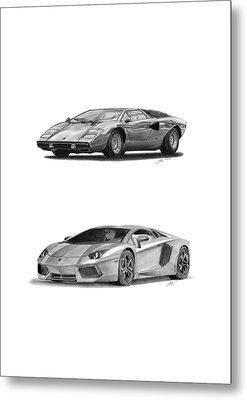 Lamborghini Lp V12 Duo Metal Print by Gabor Vida
