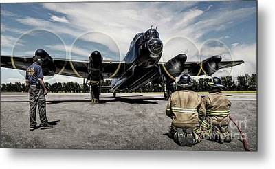 Metal Print featuring the photograph Lancaster Engine Test by Brad Allen Fine Art