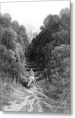 Lancelot Approaches The Castle At Astolat Metal Print
