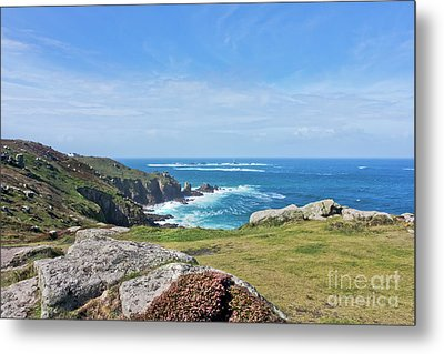 Land's End And Longships Lighthouse Cornwall Metal Print by Terri Waters