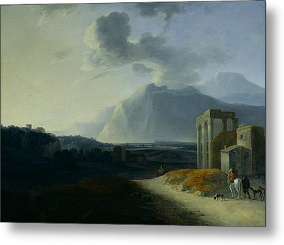 Landscape With Mount Stromboli Metal Print by Willem Schellinks
