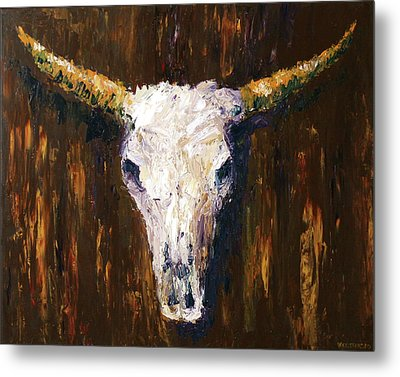 Large Cow Skull Acrylic Palette Knife Painting Metal Print by Mark Webster