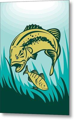 Largemouth Bass Preying On Perch Fish Metal Print by Aloysius Patrimonio