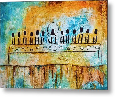 Last Supper Blue Metal Print by Ivan Guaderrama