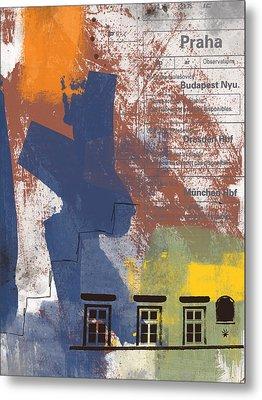 Last Train To Prague- Art By Linda Woods Metal Print