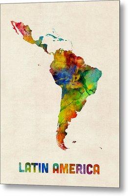 Latin America Watercolor Map Metal Print