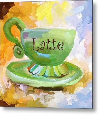 Latte Coffee Cup Metal Print