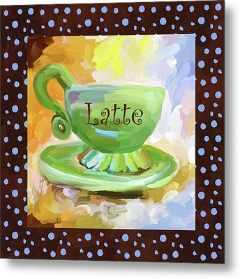 Latte Coffee Cup With Blue Dots Metal Print by Jai Johnson
