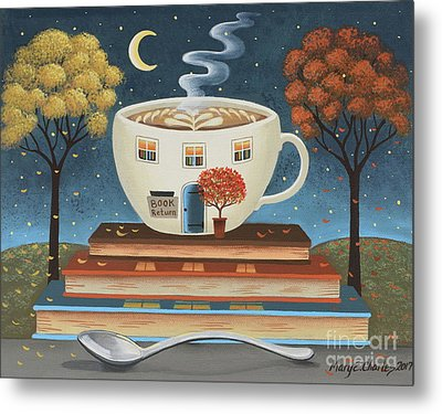 Latte Library  Metal Print by Mary Charles