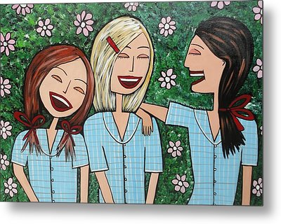 Laughing Schoolgirls Metal Print