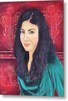 Lauren In Green Metal Print by Jan Amiss