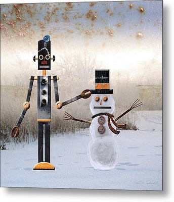 Laurence Builds A Snowman Metal Print by Joan Ladendorf