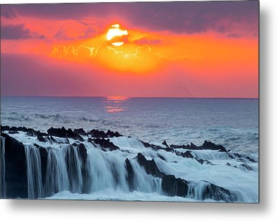 Lava Rock And Vog Sunset Metal Print by Sean Davey
