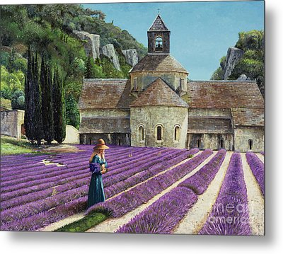 Lavender Picker - Abbaye Senanque - Provence Metal Print by Trevor Neal
