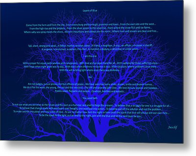 Layers Of Blue Metal Print