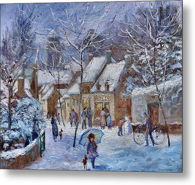 Le Cafe Breizh A Warm Welcome In The Winter Snow Metal Print