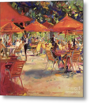 Le Cafe Du Jardin  Metal Print by Peter Graham