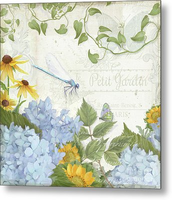 Metal Print featuring the painting Le Petit Jardin 2 - Garden Floral W Dragonfly, Butterfly, Daisies And Blue Hydrangeas by Audrey Jeanne Roberts